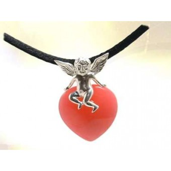 Angel and heart pendant