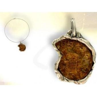 Ammonite - silver pendant