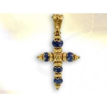 Cruz de oro y safiro fino