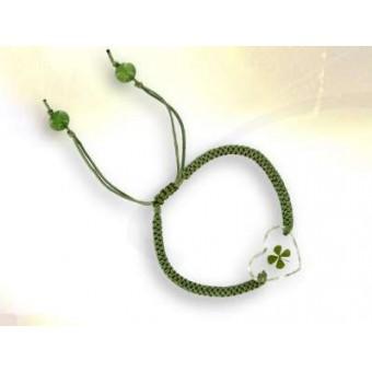 Bracelet  vert coeur trèfle à 4 feuilles