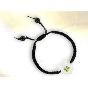 Bracelet  noir coeur trèfle à 4 feuilles