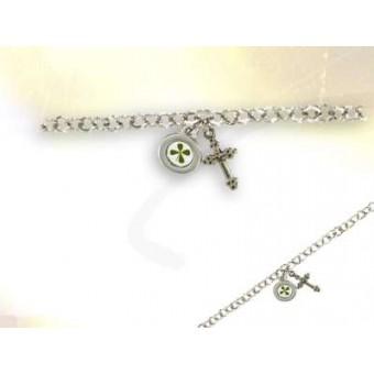 Bracelet croix trèfle à 4 feuilles