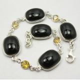 Bracelet argent  Onyx et citrine