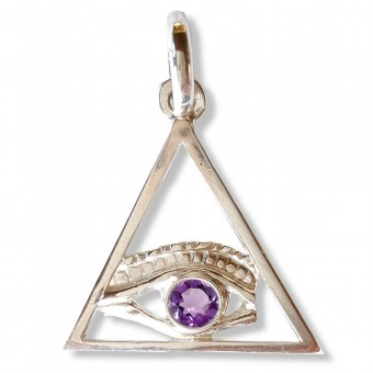 All-seeing eye in triangle masonic pendant