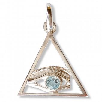 Pendentif  Triangle oeil de dieu topaze bleue