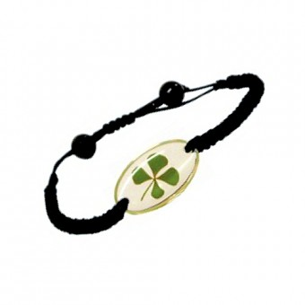 Bracelet  noir trèfle à 4 feuilles