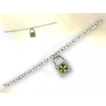 Four-leaf clover and padlock bracelet