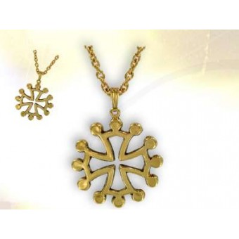 Gilded Occitan cross with chain