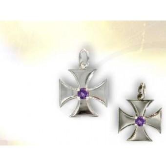 Croix Templière grand modèle Améthyste
