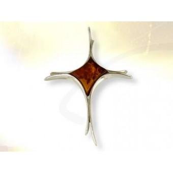Croix stylisée en  ambre cerise ou cognac