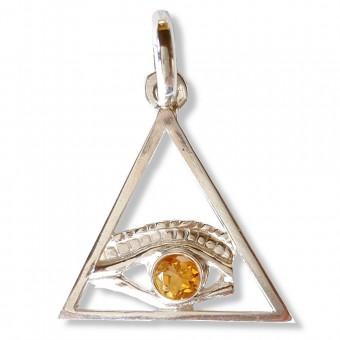 Pendentif  Triangle oeil citrine or